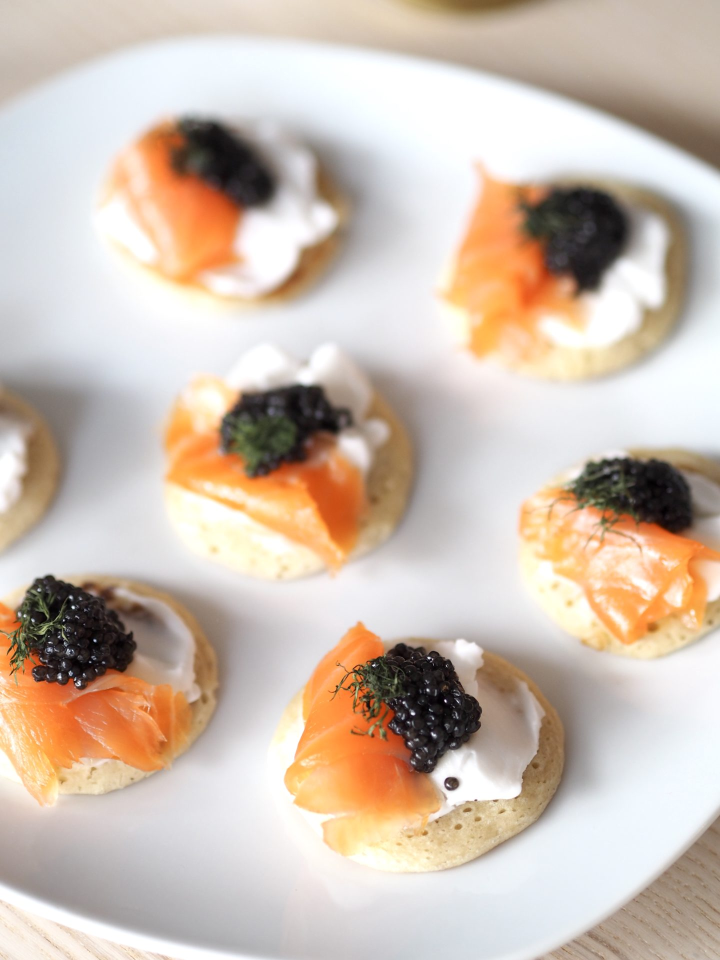 Caviar party appetizers with smoked salmon