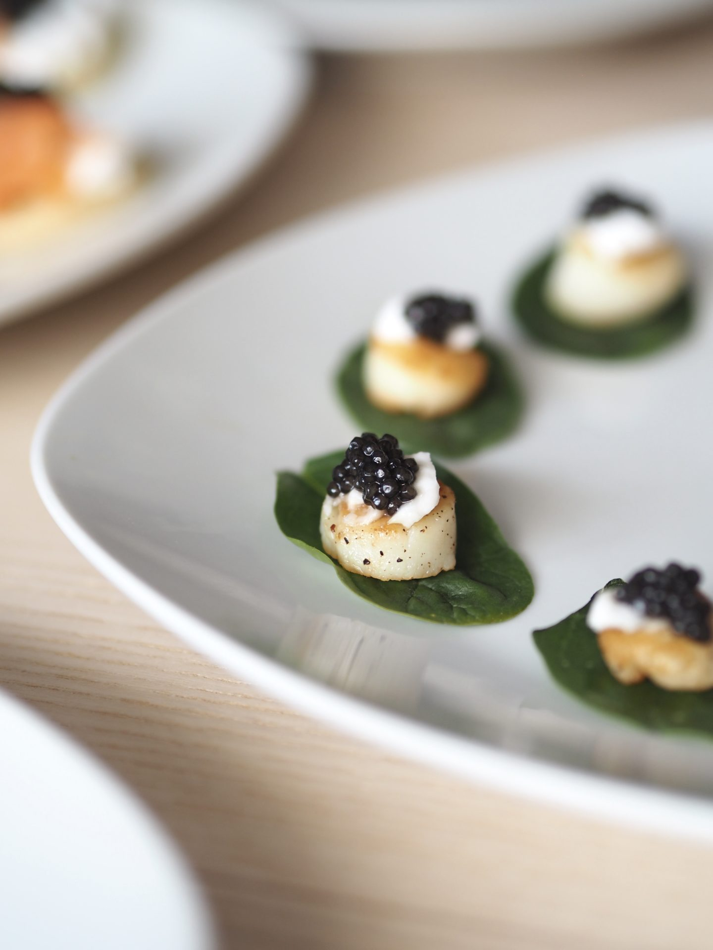 Caviar party appetizers with scallops