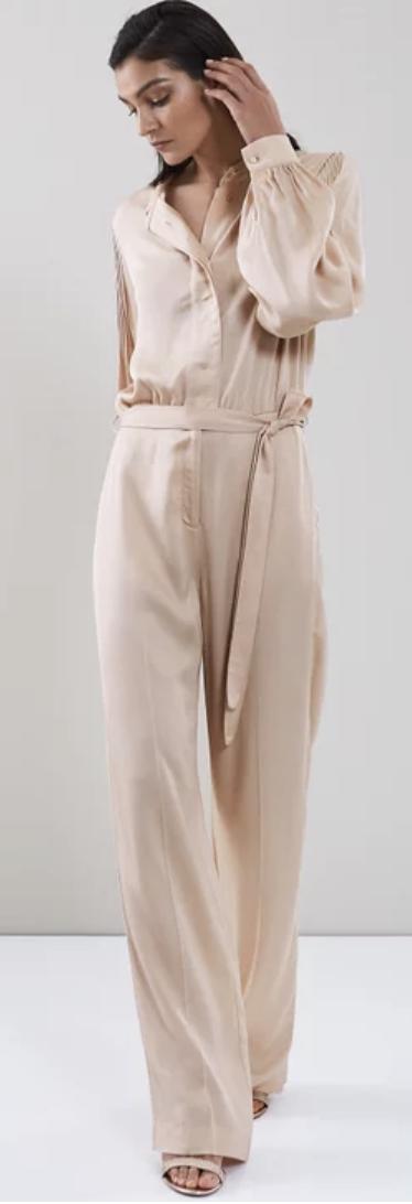 beige silk classy jumpsuits for weddings