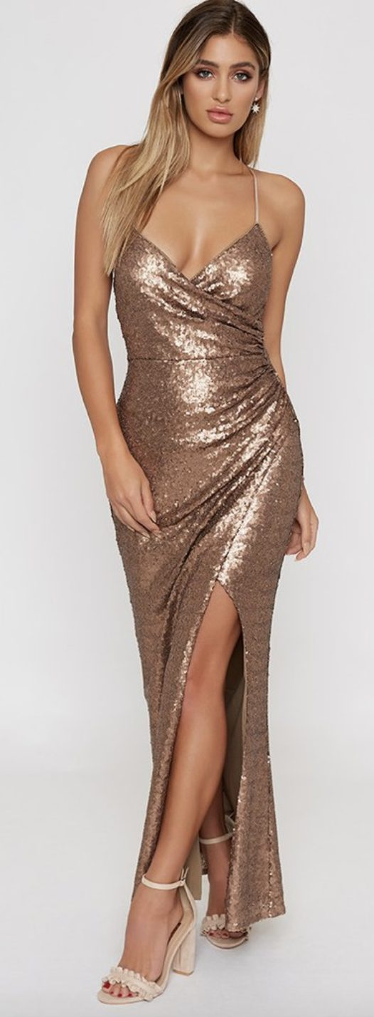 thigh high split prom gown, prom gown brands - beginning boutique
