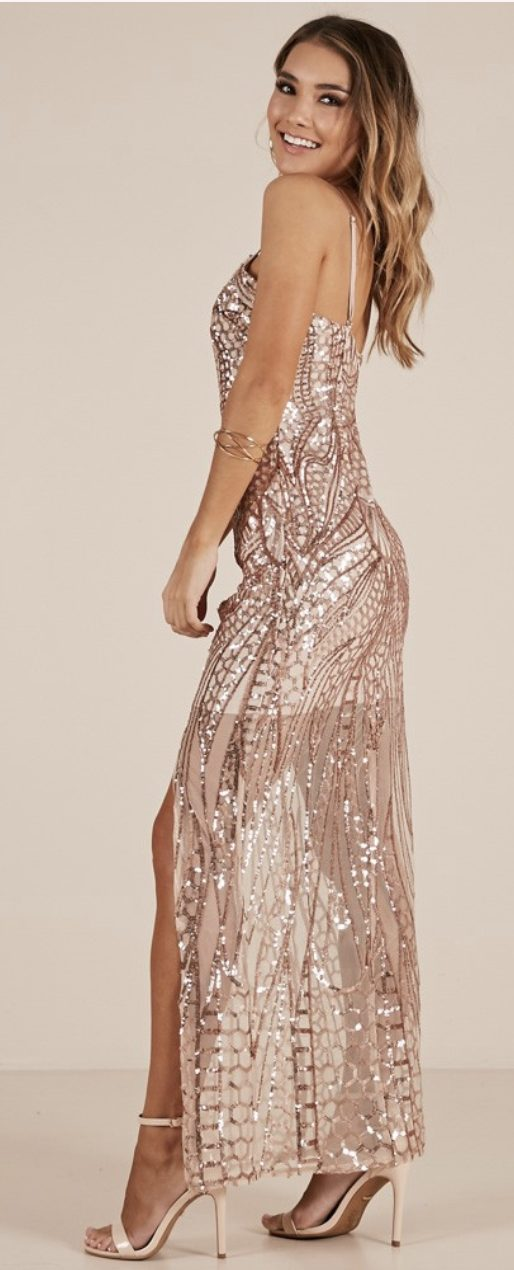 rose gold prom gown, prom gown brands - showpo