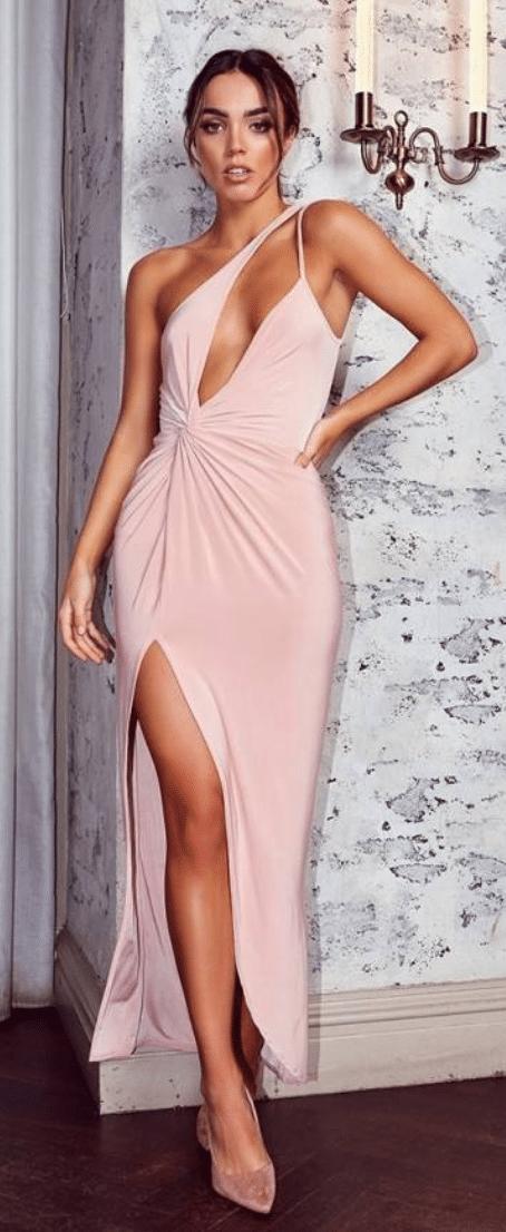 nude extreme split dresses