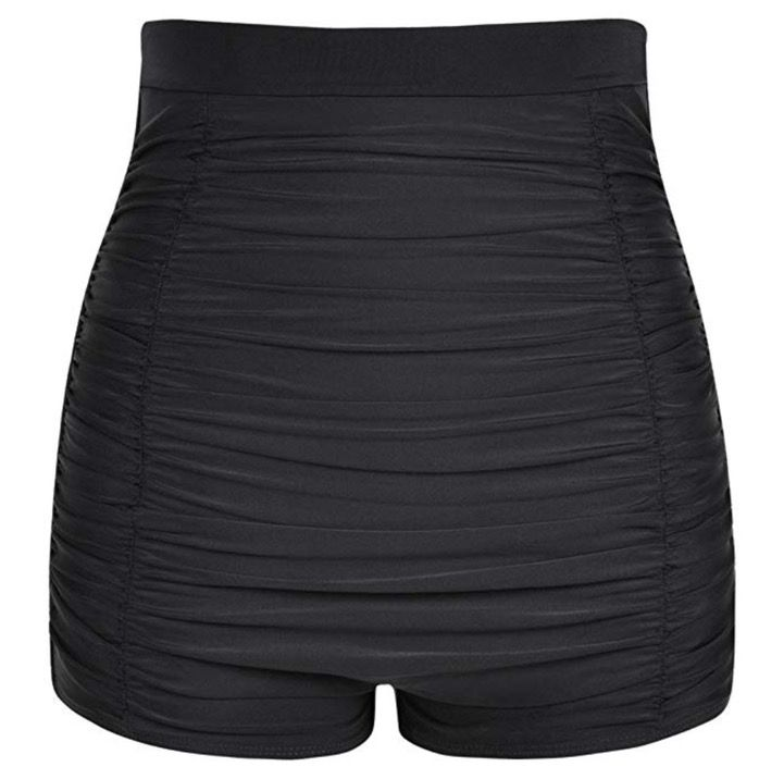 High waisted black swimsuit that covers stomach