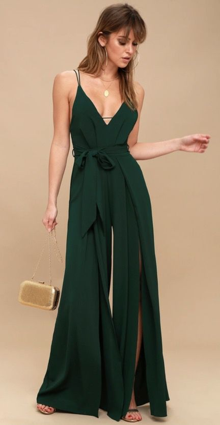 Emerald green jumpsuits for weddings