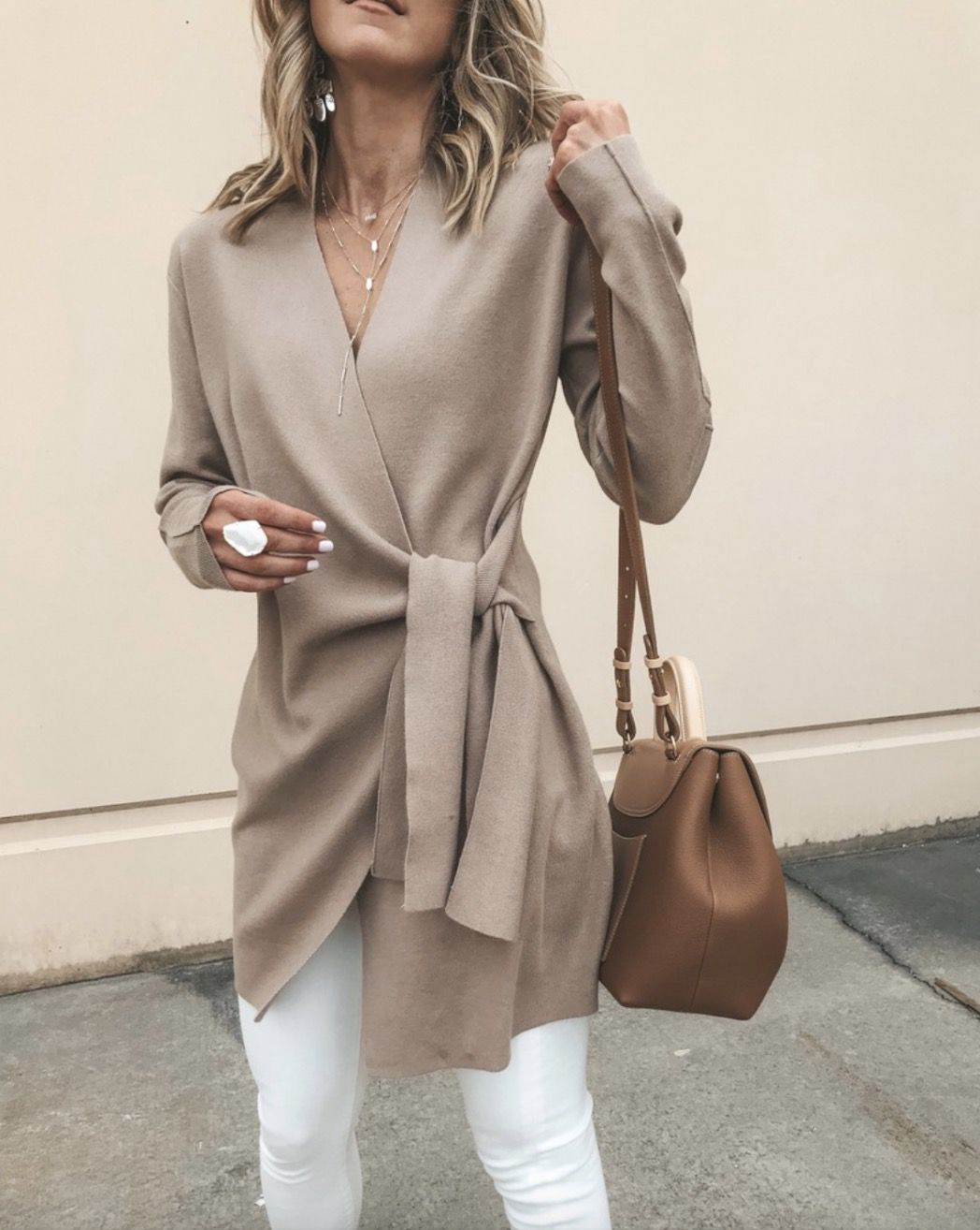 Cute beige cardigan with white jeans