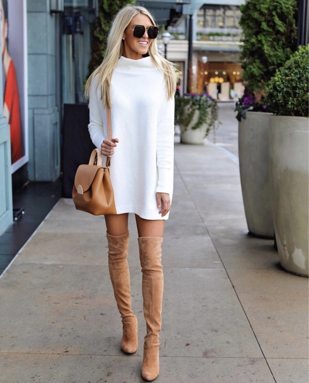 Taupe over the knee boots outfits and tan over the knee boots outfits with white sweater dress