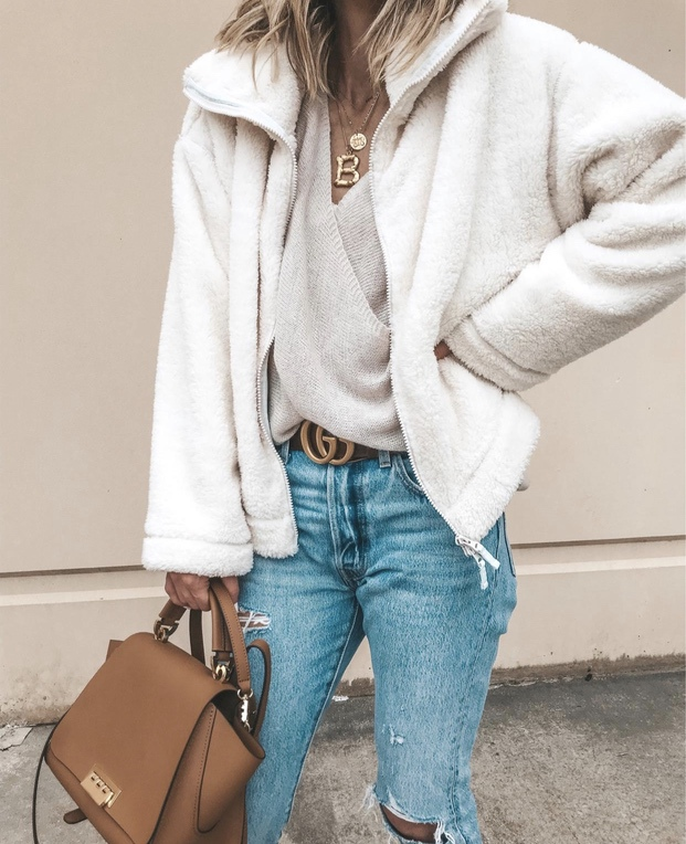 Best white shearling jacket looks for fall