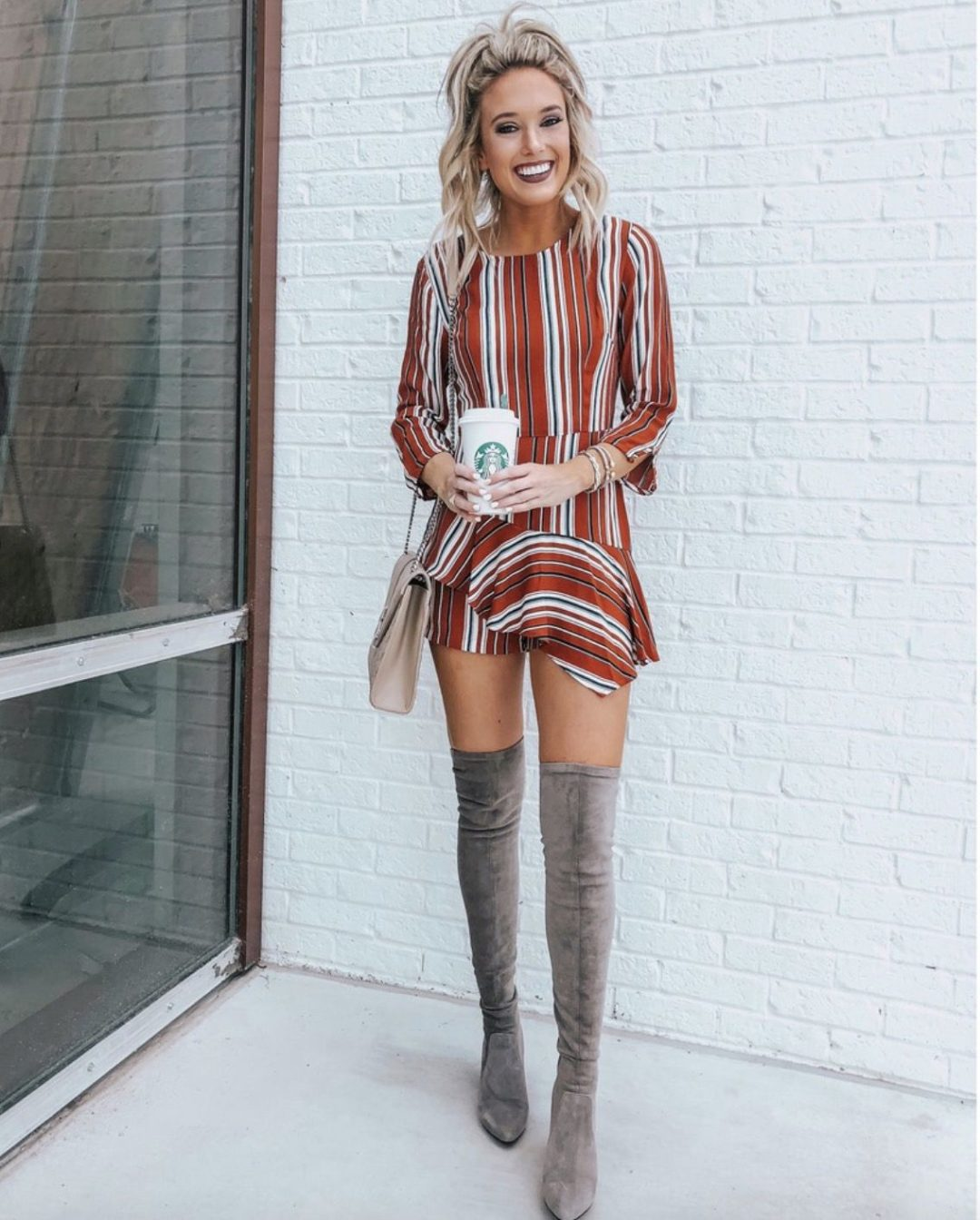Grey over the knee boots outfits with dresses