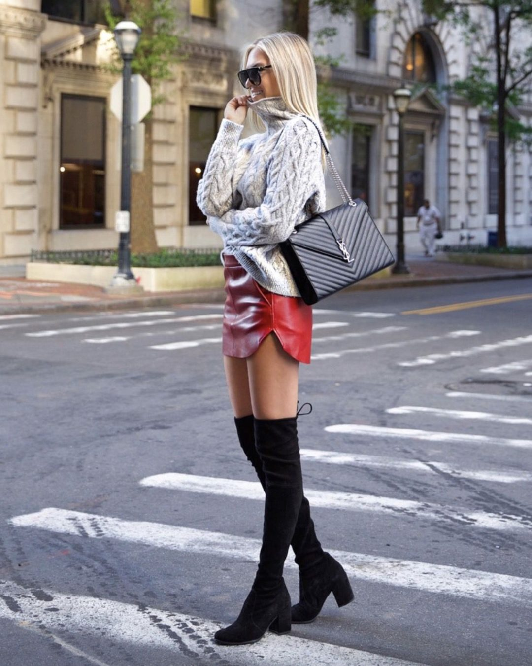 Black over the knee boots outfits with skirts - best fall outfits with sweaters and YSL bag