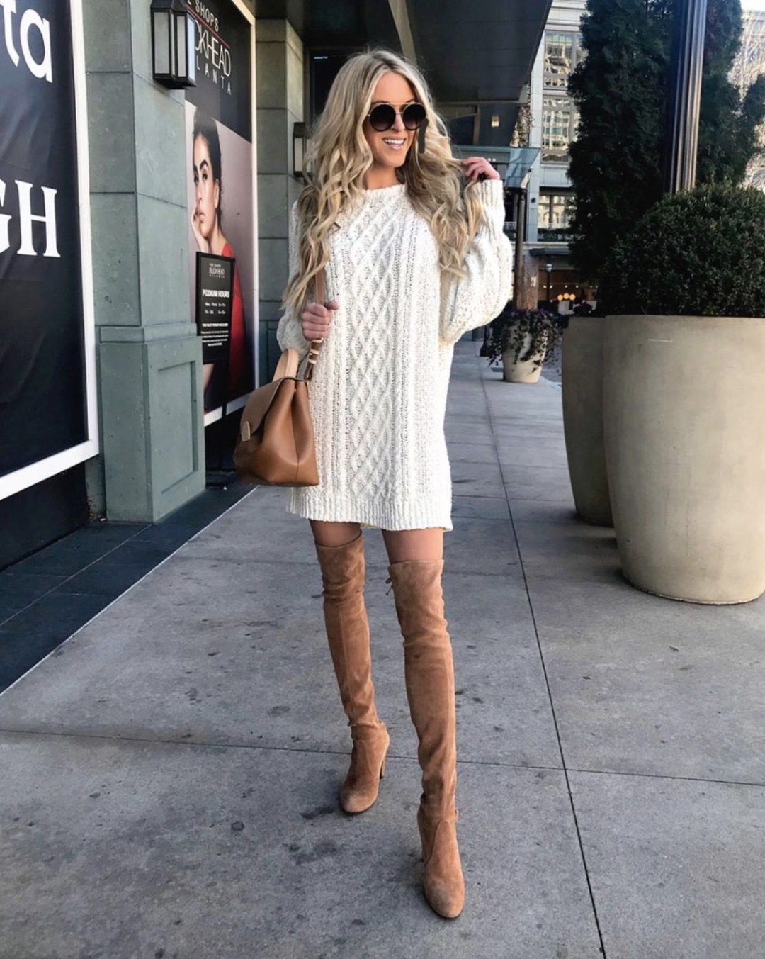 Taupe over the knee boots outfits with sweater dresses and tan over the knee boots outfits with dresses