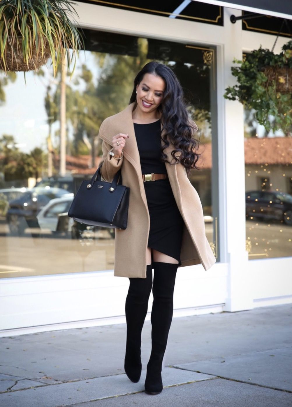Black over the knee boots outfits with dresses - best fall outfits