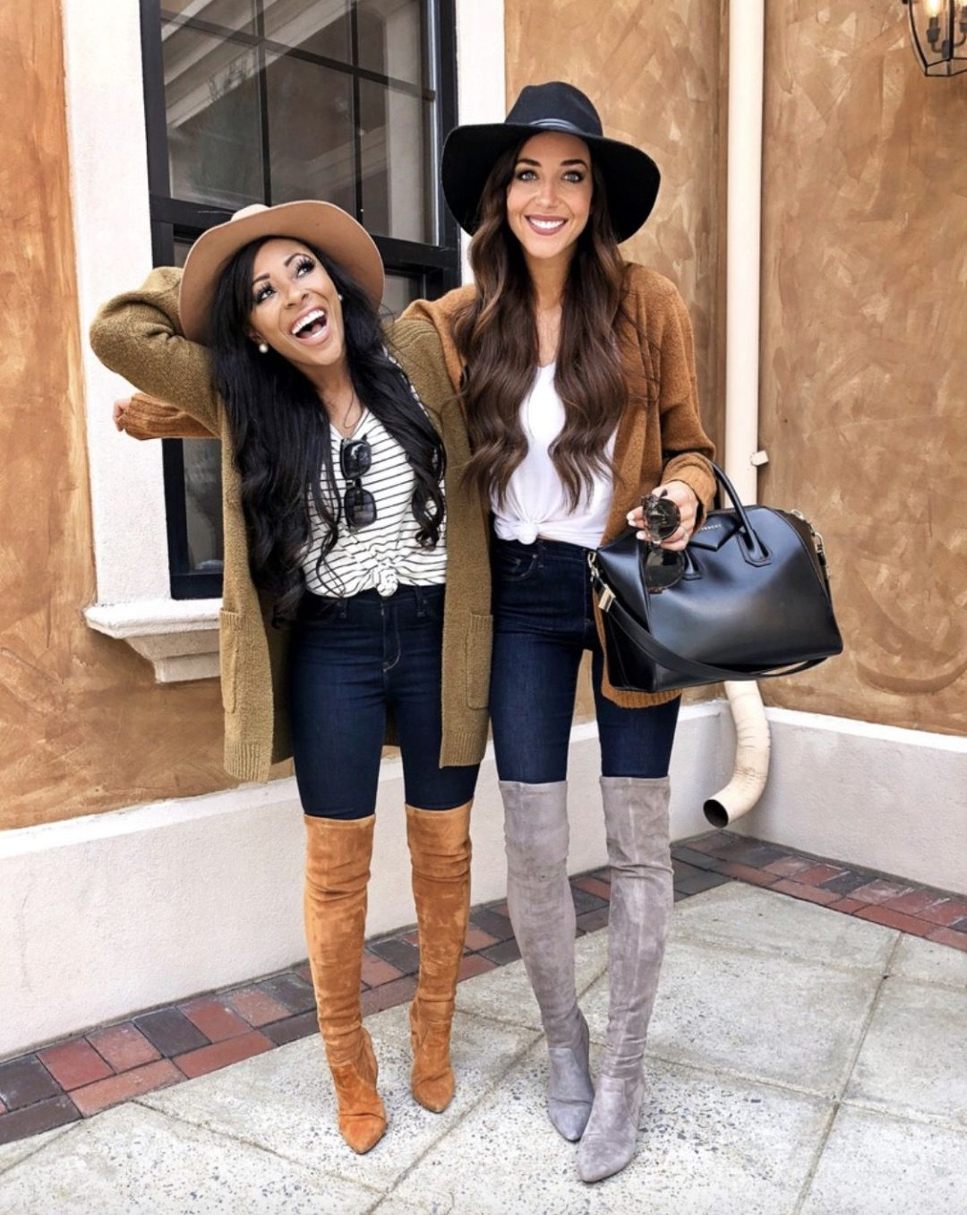 Tan over the knee boots looks and grey over the knee boots outfits with Givenchy Antigona