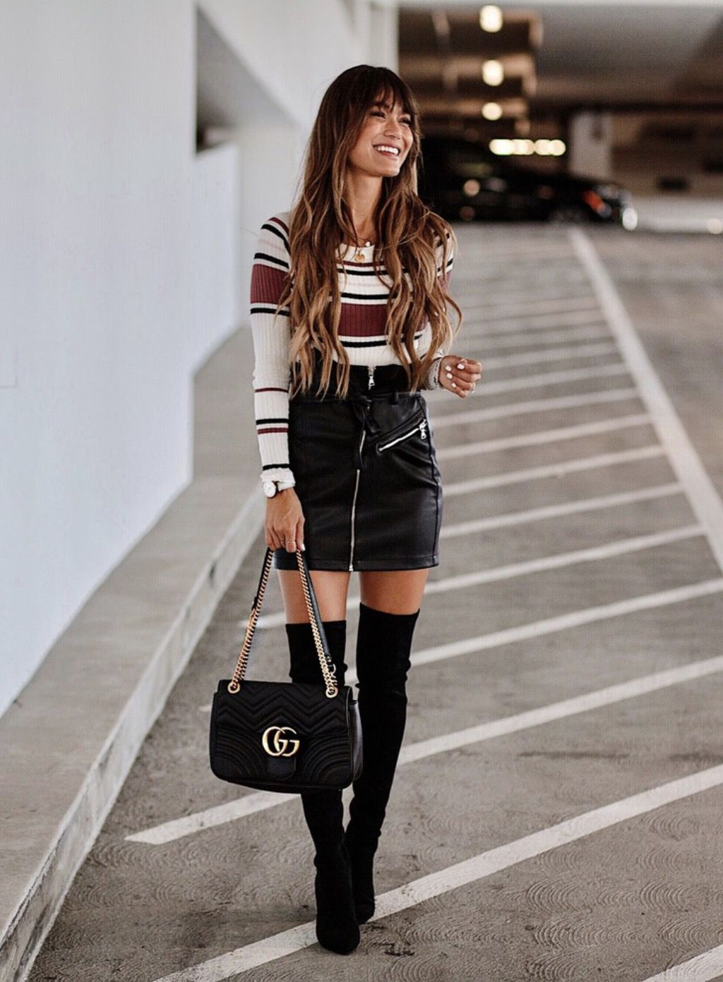 Black over the knee boots outfits with skirts and Gucci bag