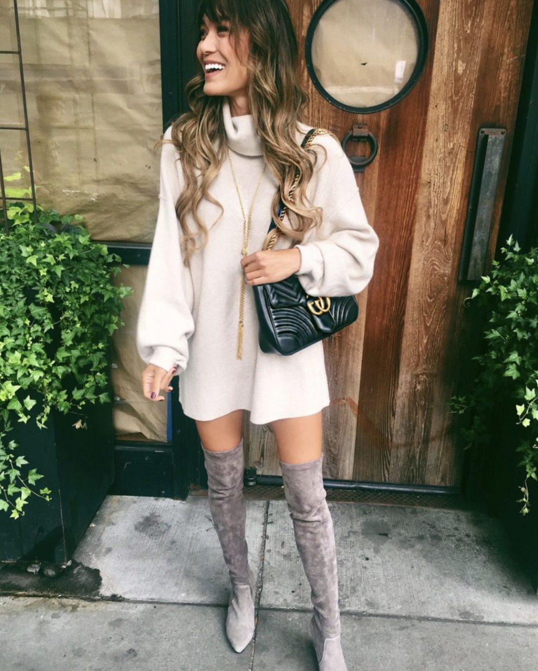 Grey over the knee boots outfits with dresses and Gucci bag