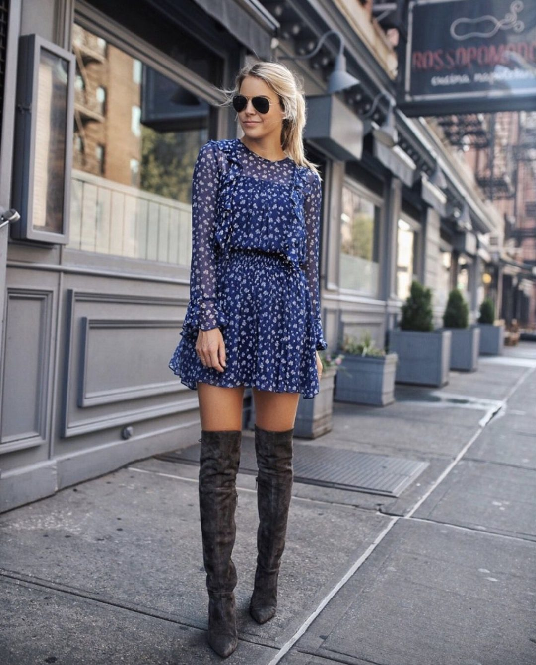 Grey thigh high boot looks with dresses - best fall outfits