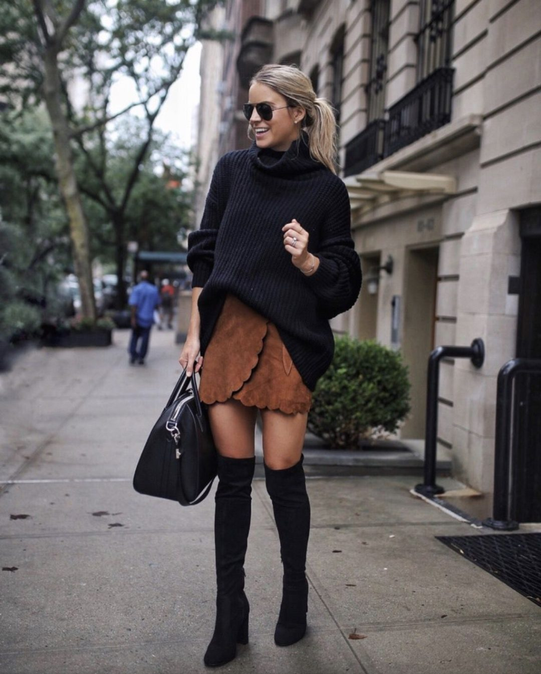 Black over the knee boots outfits with skirts - best fall outfits with sweaters