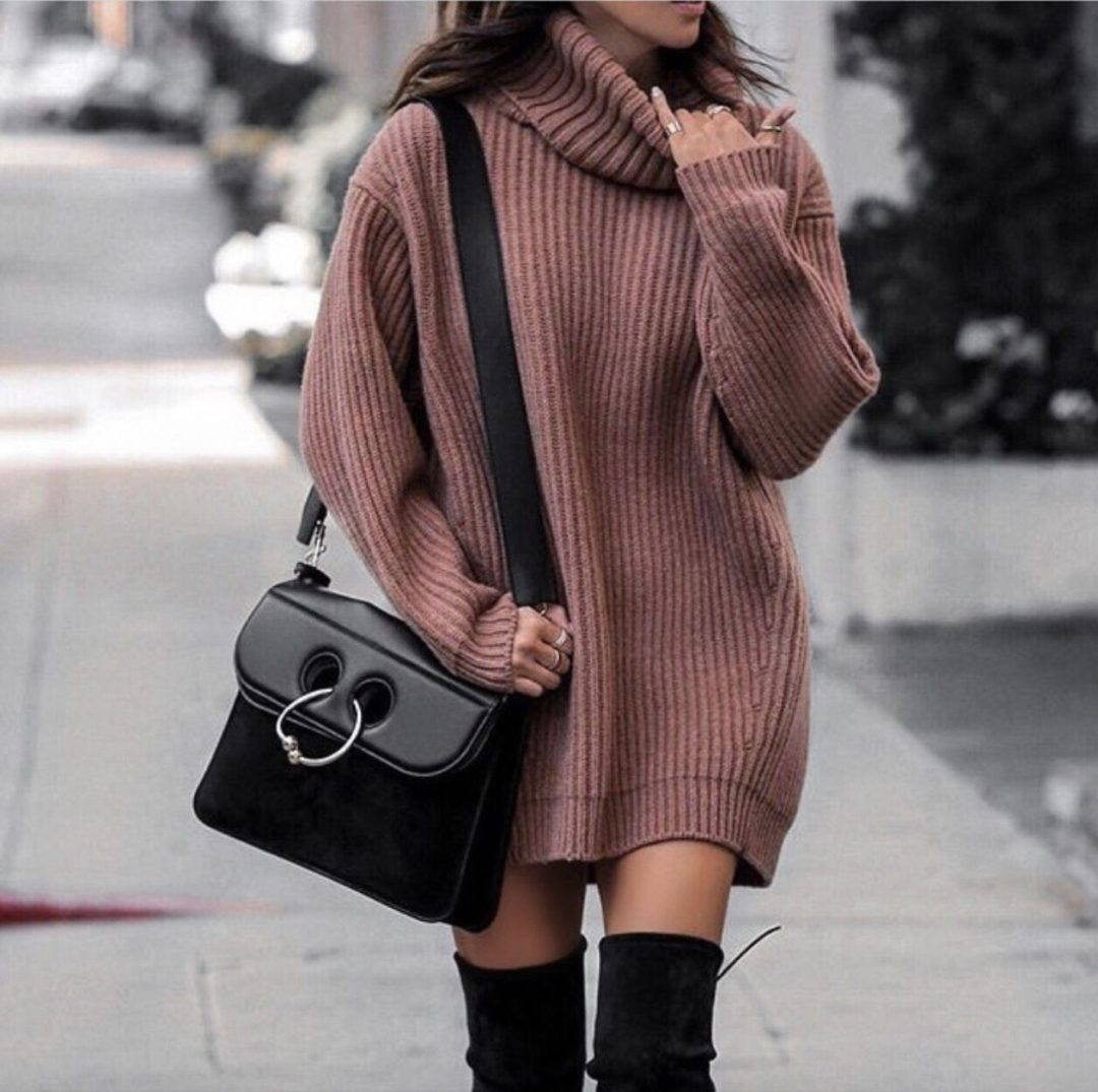 Sweater dress outfits with black thigh high boots - best fall outfits