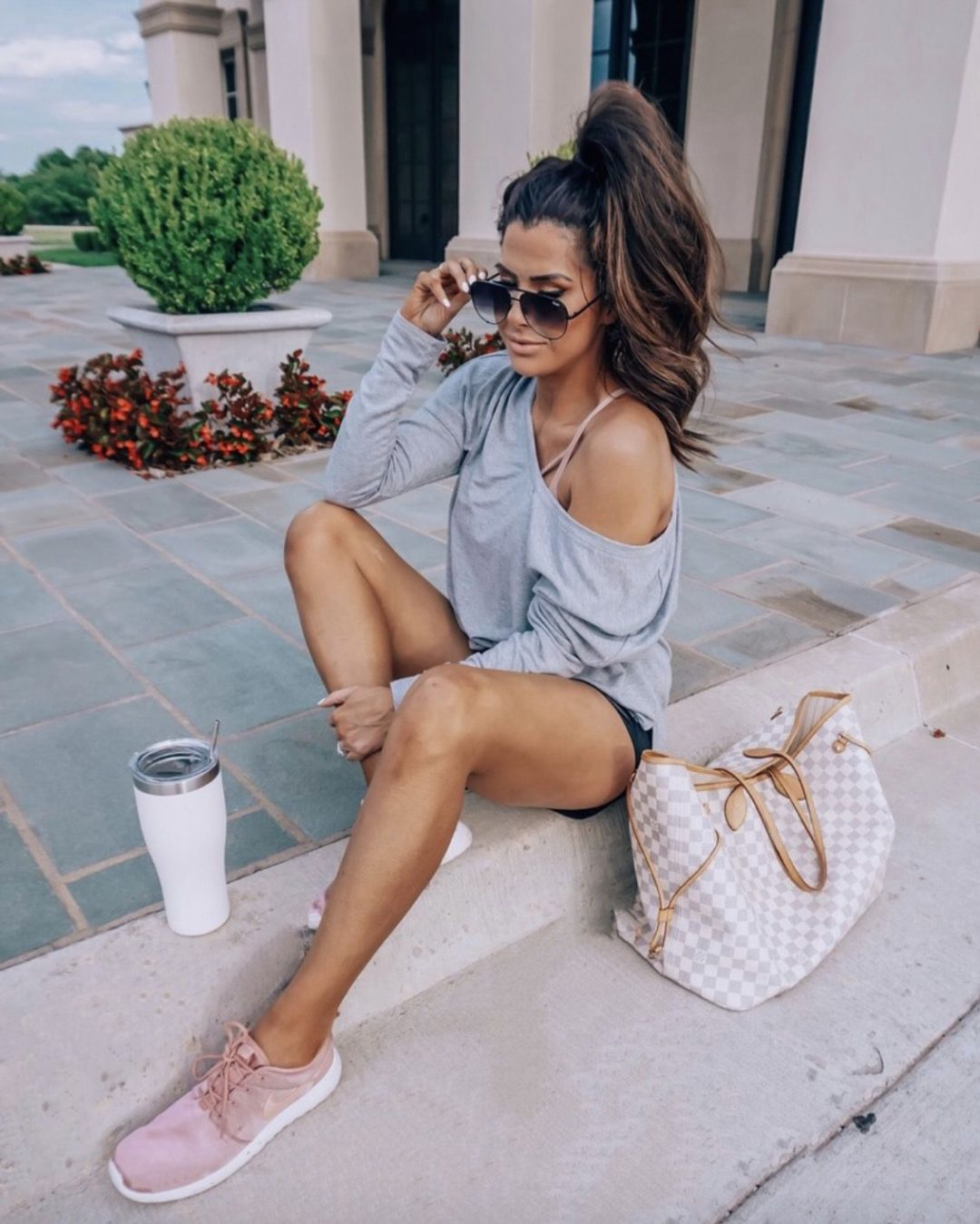 Cute sporty outfits with sweaters and Louis Vuitton Neverfull