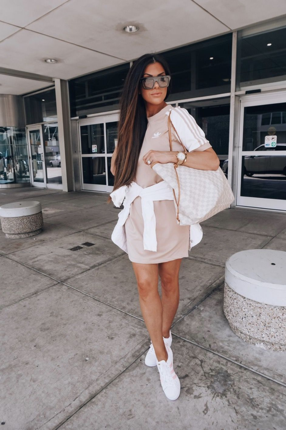 Cute sporty outfits with dresses and Louis Vuitton Neverfull