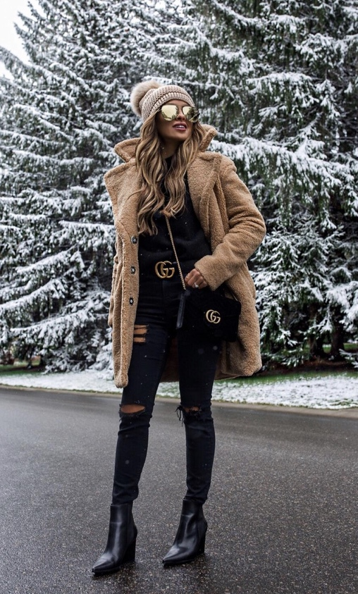 Chic teddy coat outfits for winter with Gucci belt