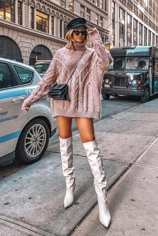 Pink sweater dress look with white over the knee boots and black baker boy hat and black YSL bag