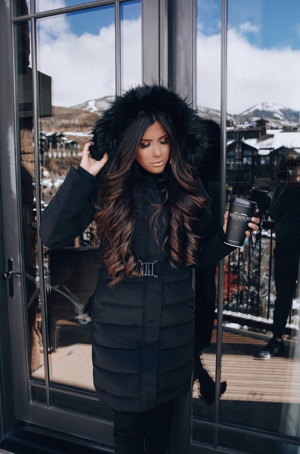 Chic black ski outfits and warm winter outfits