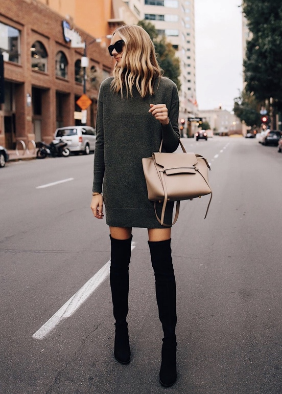 21+ Winter Outfits To Copy ASAP: Grey Sweater Dress With Black Over The Knee Boots. These casual winter outfits will keep you warm when other cold weather outfits may fail you. Check out these over the knee boot outfit looks, sweater outfits and other winter fashion outfits from the biggest fashion bloggers to get inspired now! Image ©Fashion_Jackson #winterfashion #winteroutfits #casualwinteroutfits #sweaterdress #overthekneeboots