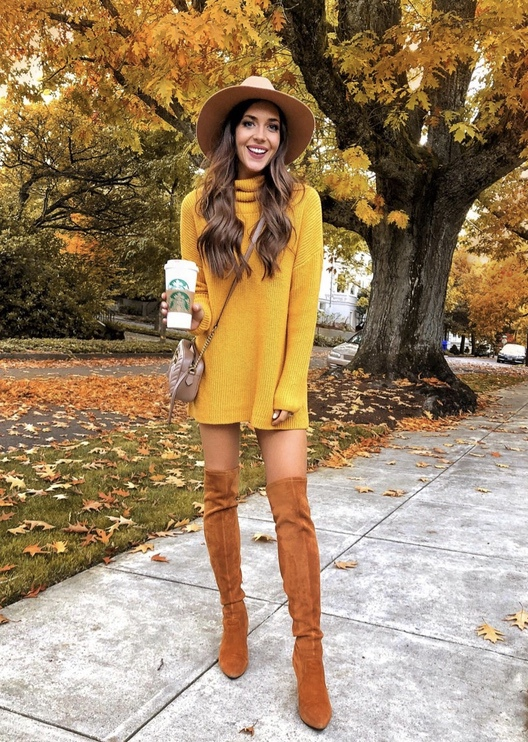 17 Trendy winter street style outfits and outfit ideas to step up your game this fall and winter: Mustard yellow sweater dress with nude wide brim wool hat and OTK boots. These winter street style looks are perfect to cosy up with in any urban city. Click over to the article and get inspired by more casual winter fashion looks! Image © LC_Steele. #winterfashion #winteroutfits #streetstyle #sweaterdress #overthekneeboots