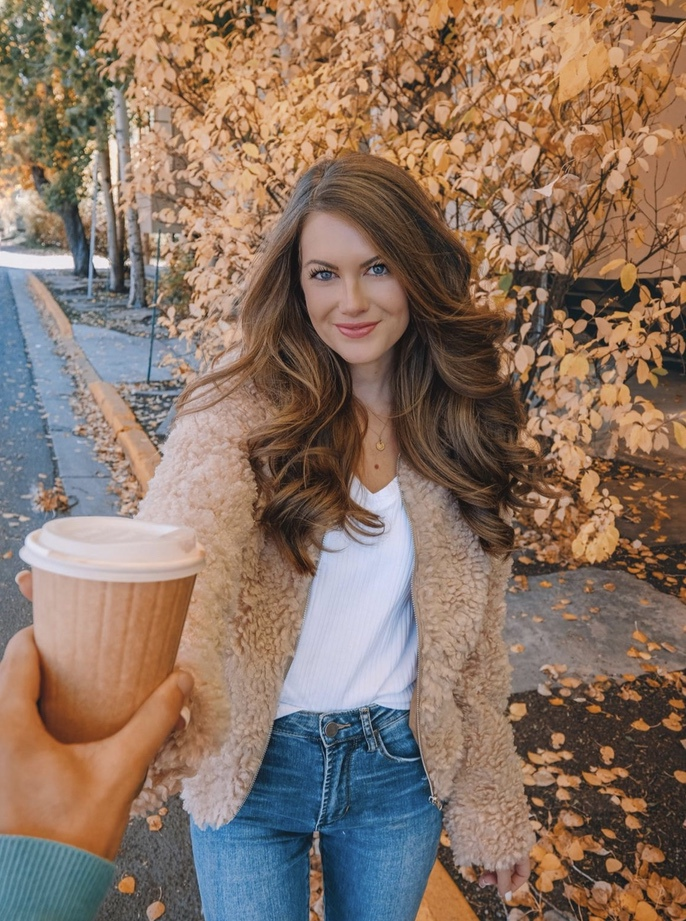 Shearling jacket outfits for fall