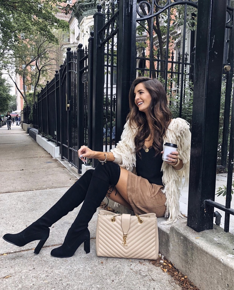 Chic shaggy coat outfits for fall with over the knee boots and YSL bag