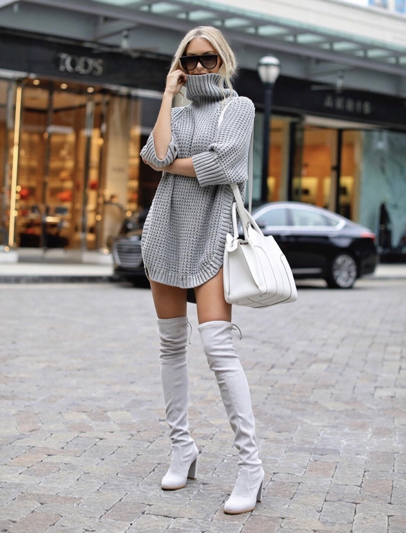 21+ Winter Outfits To Copy ASAP: Grey sweater dress with grey over the knee boots. These casual winter outfits will keep you warm when other cold weather outfits may fail you. Check out these over the knee boot outfit looks, sweater outfits and other winter fashion outfits from the biggest fashion bloggers to get inspired now! Image ©MacyStucke #winterfashion #winteroutfits #casualwinteroutfits #sweaterdress