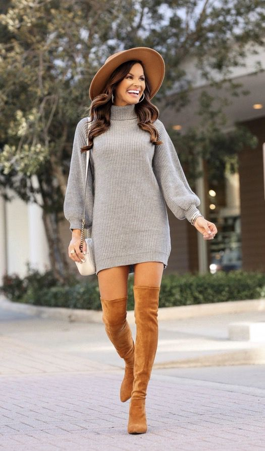 21+ Winter Outfits To Copy ASAP: Grey sweater dress with tan over the knee boots and wool hat. These casual winter outfits will keep you warm when other cold weather outfits may fail you. Check out these over the knee boot outfit looks, sweater outfits and other winter fashion outfits from the biggest fashion bloggers to get inspired now! Image ©MumuAndMacaroons #winterfashion #winteroutfits #casualwinteroutfits #sweaterdress