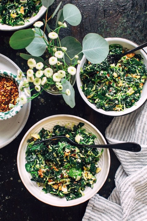 Keto Thanksgiving recipes: Shredded Kale and Brussels Sprout Salad