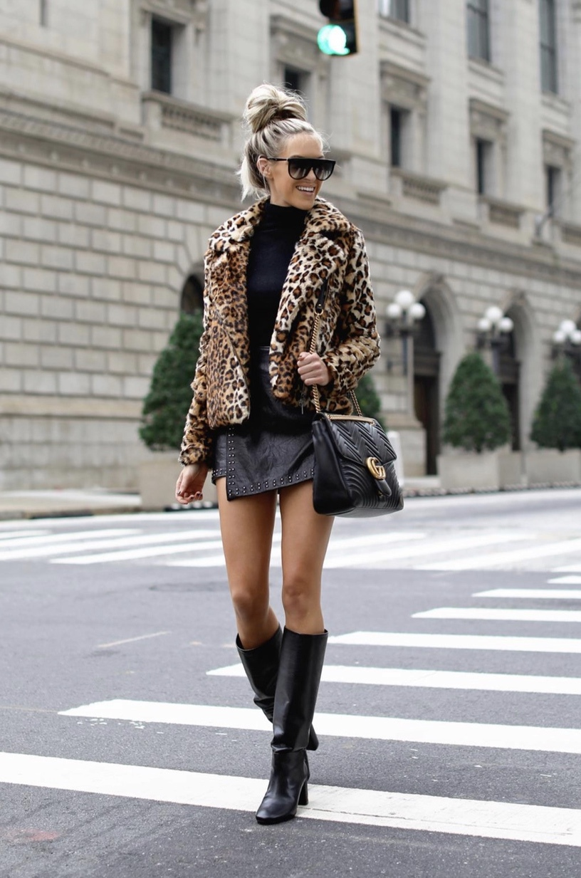 Cute winter outfits with leopard print coat with black knee high boots, Gucci bag and Celine flat top sunglasses worn by Macy Stucke