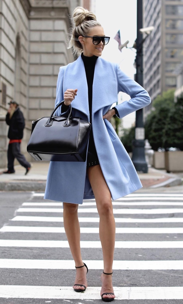 Chic business casual fall outfit with blue coat, black Givenchy Antigona bag, black strappy heels and Celine sunglasses worn by Macy Stucke