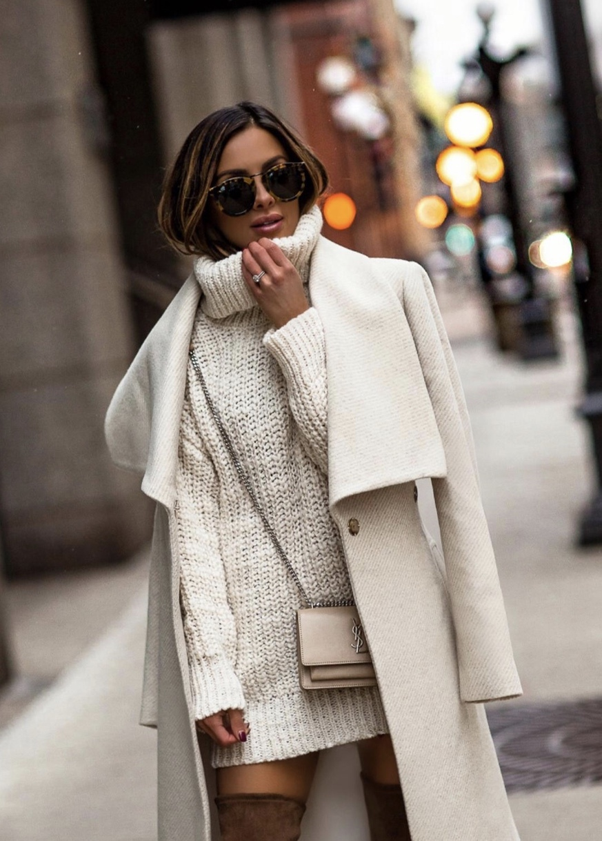 Chic winter outfits with cream coat and cream white sweater dress worn by MiaMiaMine