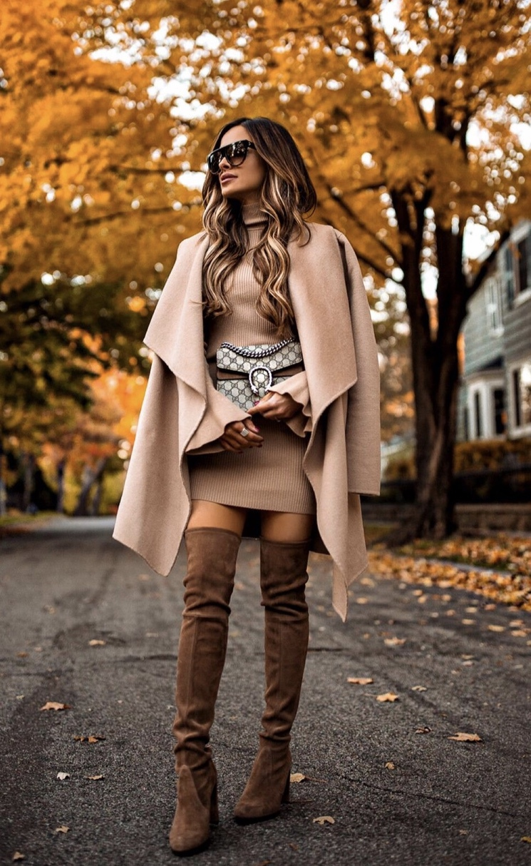 Over the knee boots outfit with waterfall coat perfect as fall and winter outfits