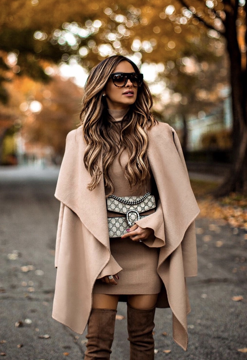 Beige waterfall coat with sweater dress and brown over the knee boots and Gucci Dionysus bag worn by Mia Mia Mine