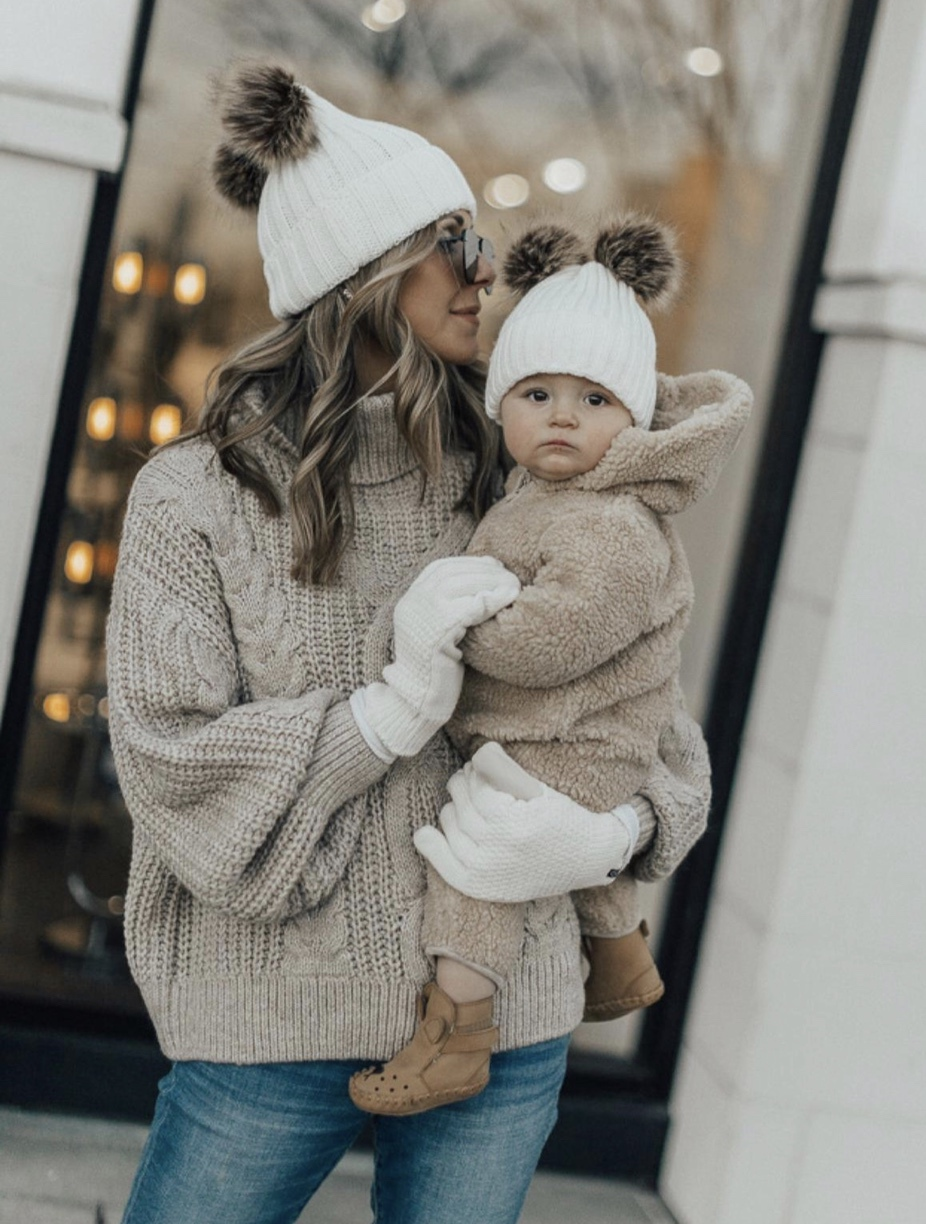 Mom and baby matching outfits with beanies worn by Cella Jane Blog