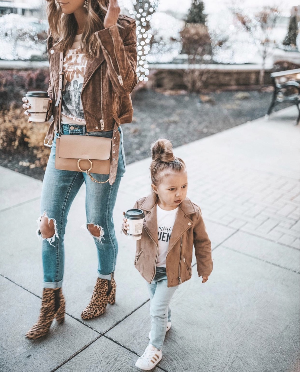 Cute mom and baby outfits - brown leather jacket with mini Chloe Faye bag and ripped jeans worn by Cella Jane Blog