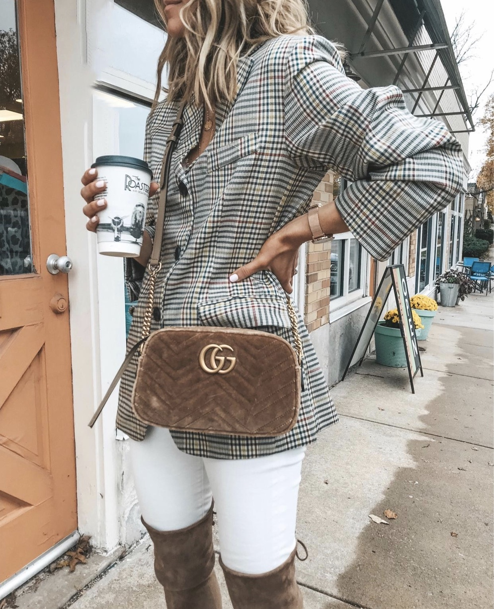 Plaid blazer look with white jeans and Gucci bag
