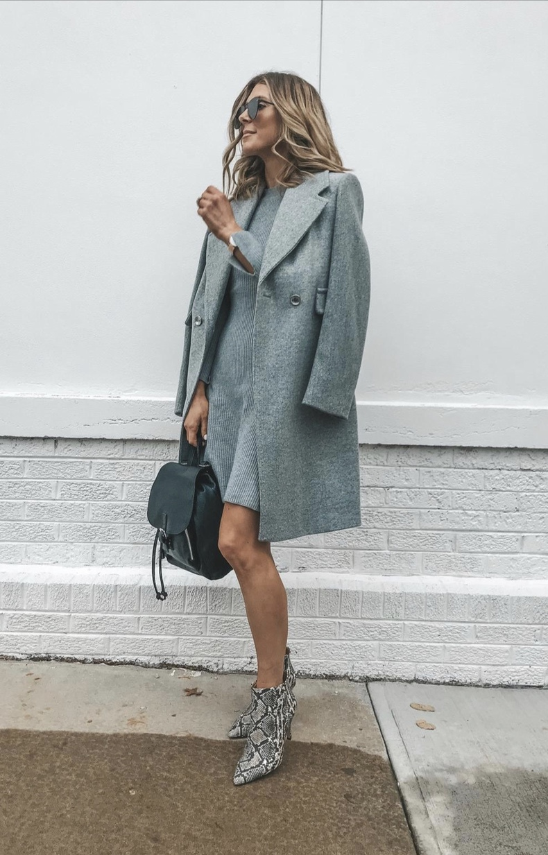 Business casual winter outfits: Grey coat outfit with snakeprint boots worn by Cella Jane Blog