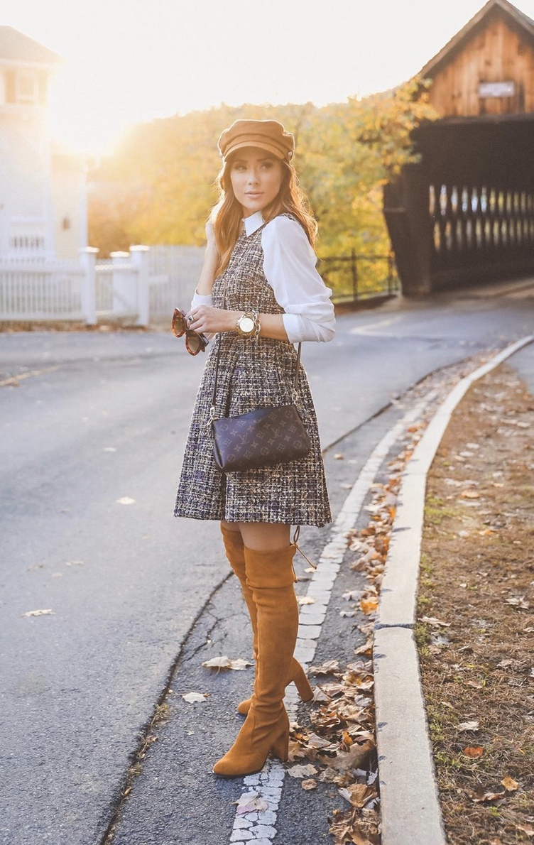 Brown over the knee boots look with tweed dress and baker boy hat