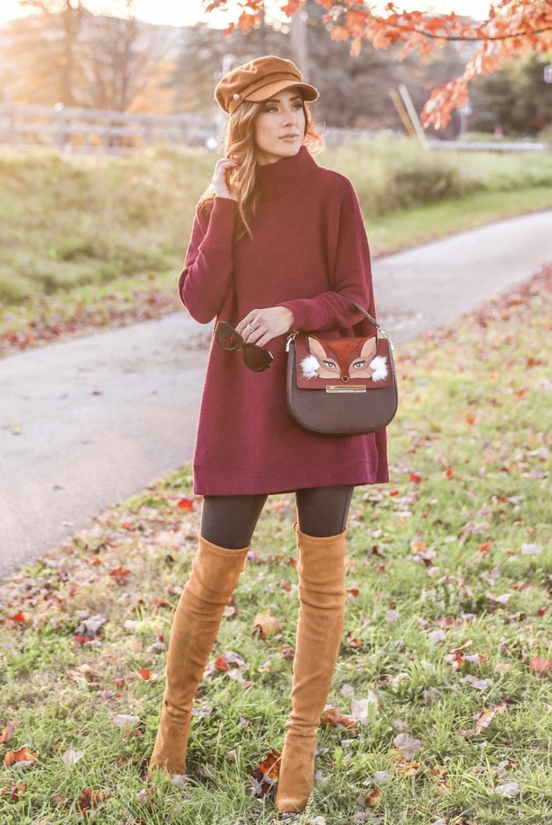 Tan over the knee boots look with sweater dress and baker boy hat