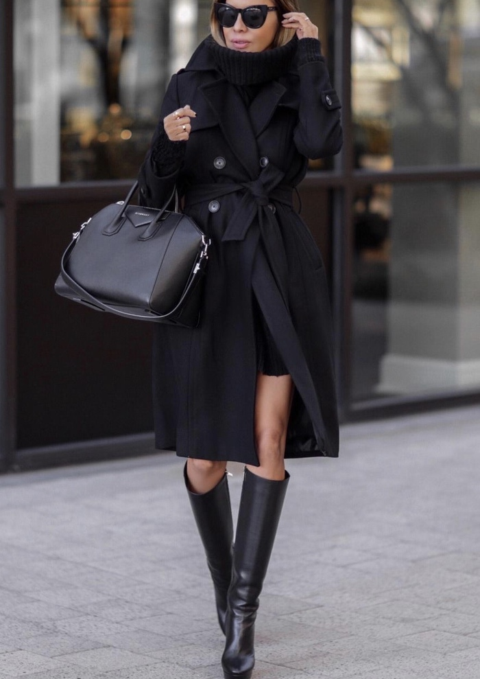 All black outfits for winter with Givenchy Antigona