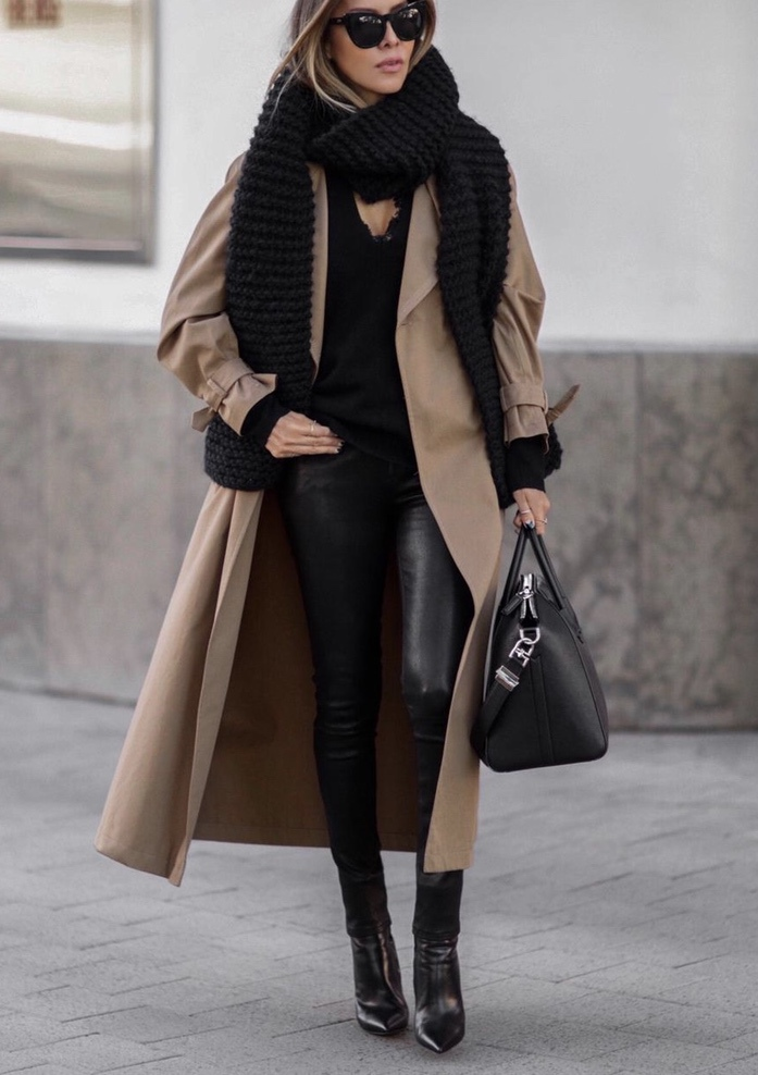Warm winter outfits with black leggings