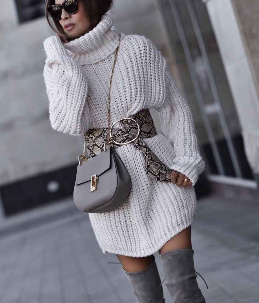 Chic winter outfits with taupe over the knee boots, white sweater dress and Chloe Drew bag worn by LolarioStyle