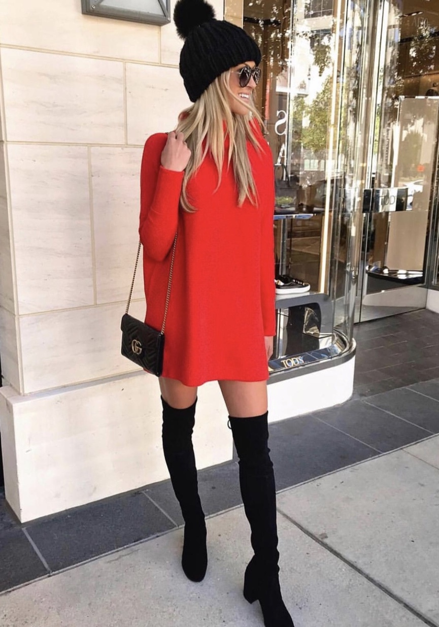 Casual winter outfits with black over the knee boots, red long sleeve dress and beanier