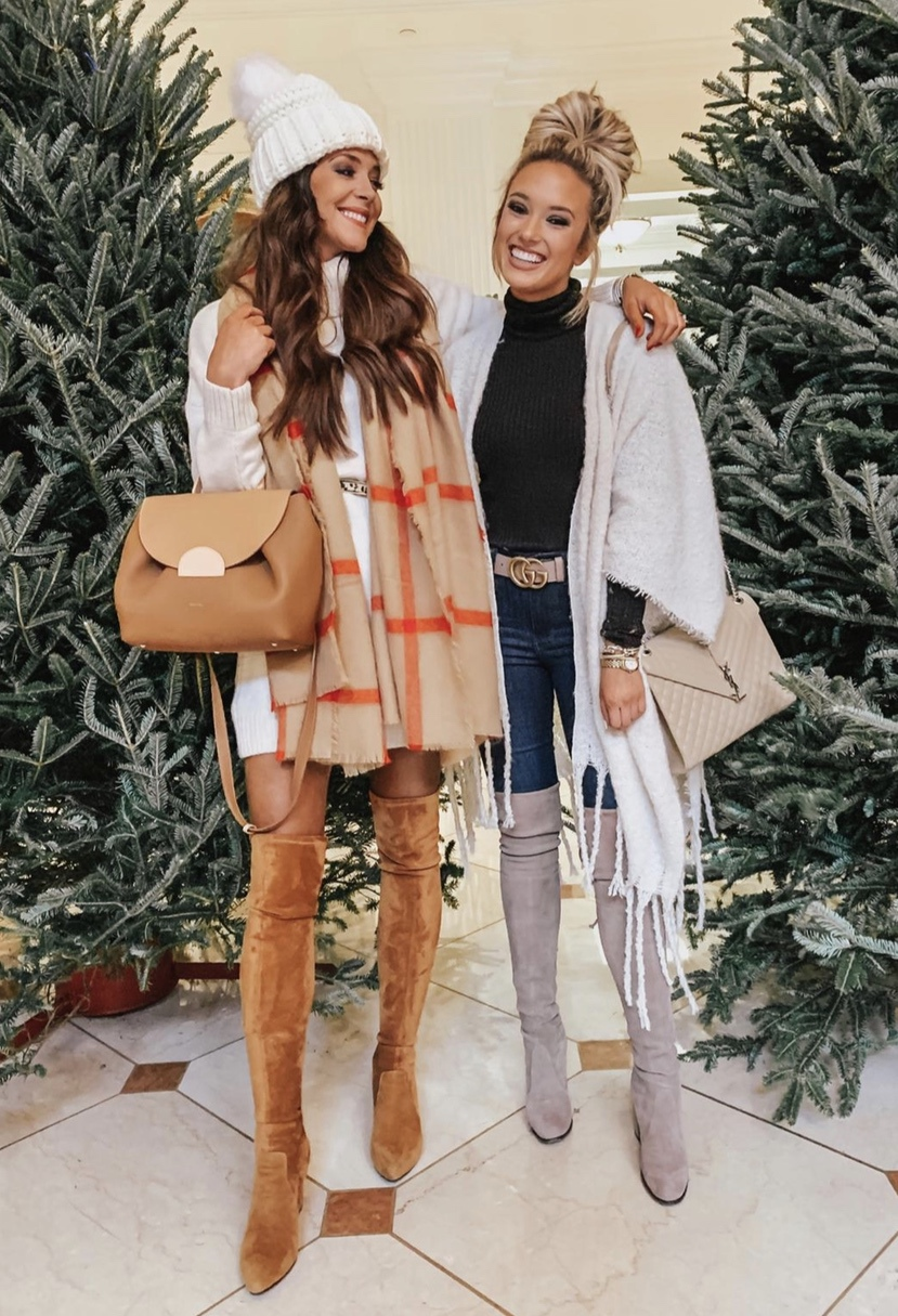 Casual winter outfits with over the knee boots and beanies