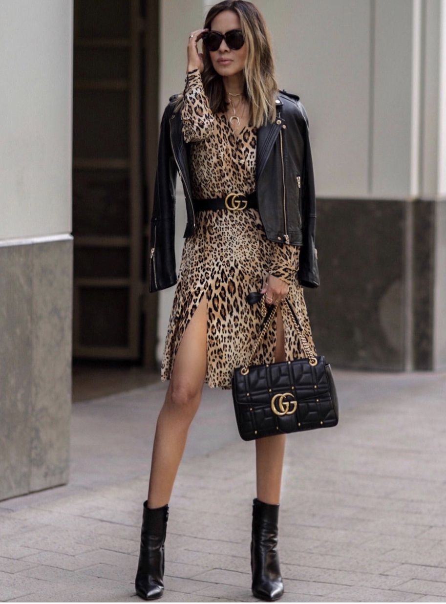 Chic fall look with leopard print dress and leather jacket